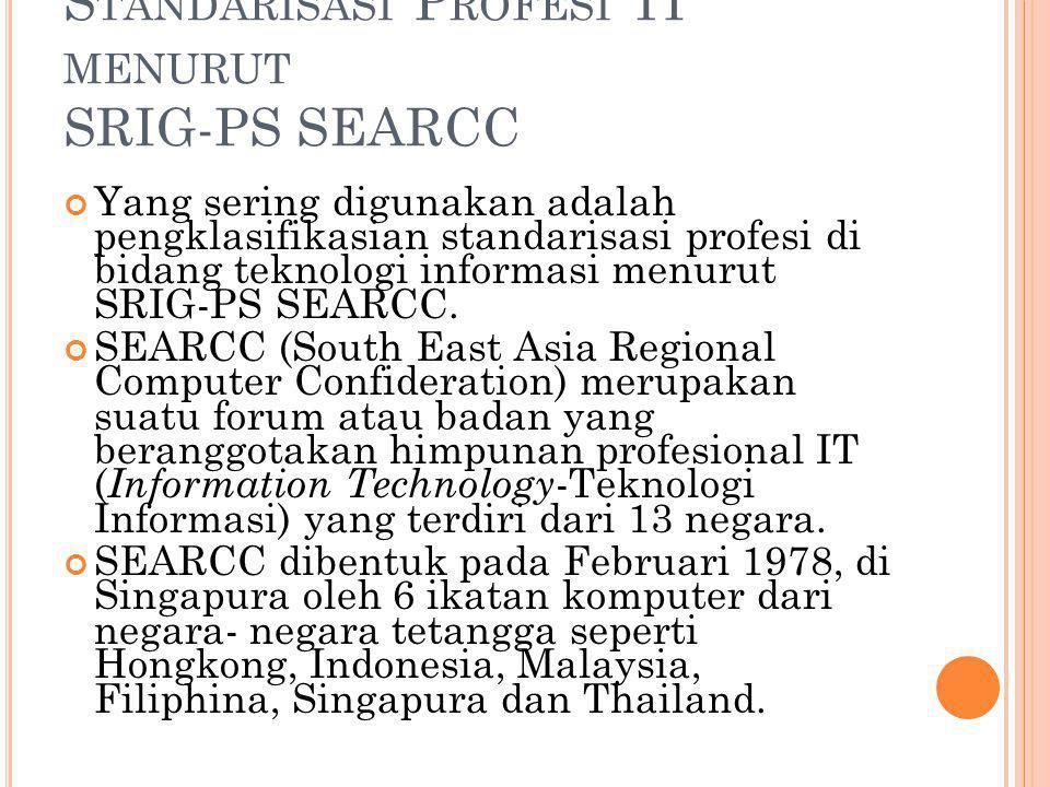 S TANDARISASI P ROFESI TI MENURUT SRIG-PS SEARCC Yang sering digunakan adalah pengklasifikasian standarisasi profesi di bidang teknologi informasi men