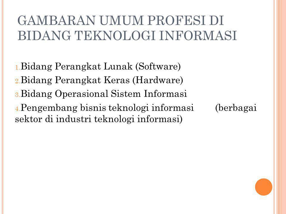 GAMBARAN UMUM PROFESI DI BIDANG TEKNOLOGI INFORMASI 1. Bidang Perangkat Lunak (Software) 2. Bidang Perangkat Keras (Hardware) 3. Bidang Operasional Si