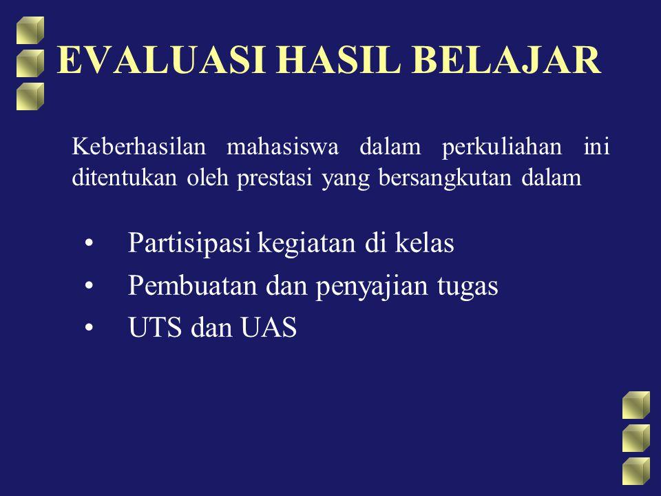 EVALUASI HASIL BELAJAR Partisipasi kegiatan di kelas Pembuatan dan penyajian tugas UTS dan UAS Keberhasilan mahasiswa dalam perkuliahan ini ditentukan