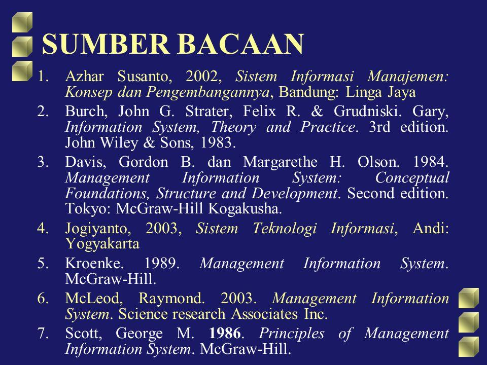 SUMBER BACAAN 1.Azhar Susanto, 2002, Sistem Informasi Manajemen: Konsep dan Pengembangannya, Bandung: Linga Jaya 2.Burch, John G. Strater, Felix R. &