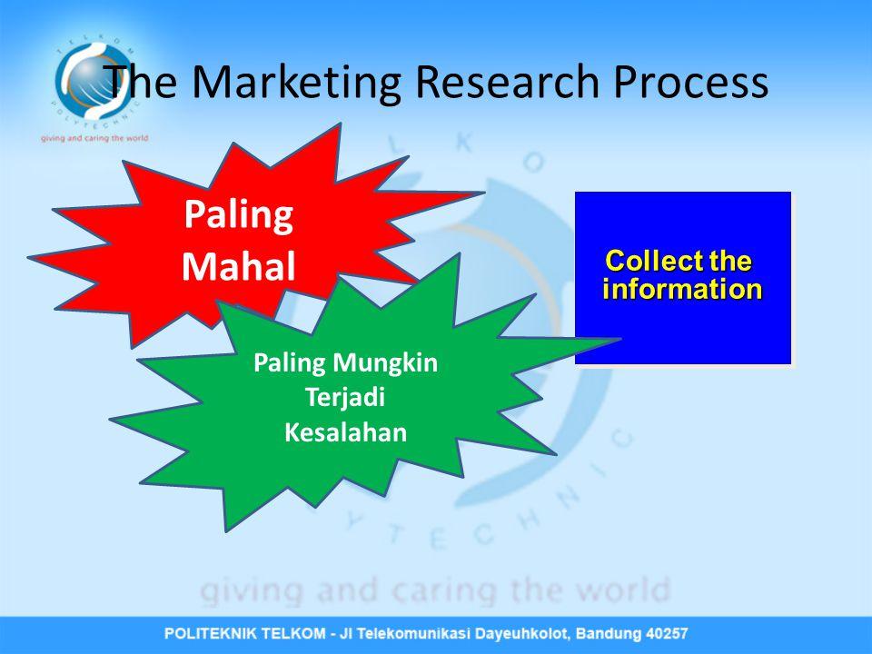 The Marketing Research Process Collect the information information Paling Mahal Paling Mungkin Terjadi Kesalahan