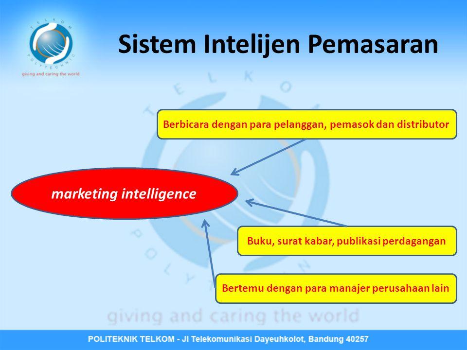 Sistem Intelijen Pemasaran marketing intelligence Buku, surat kabar, publikasi perdagangan Berbicara dengan para pelanggan, pemasok dan distributor Be