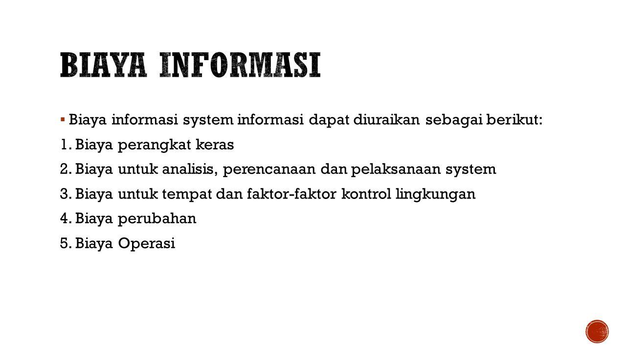  Biaya informasi system informasi dapat diuraikan sebagai berikut: 1.