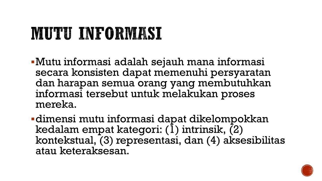  Mutu informasi adalah sejauh mana informasi secara konsisten dapat memenuhi persyaratan dan harapan semua orang yang membutuhkan informasi tersebut untuk melakukan proses mereka.