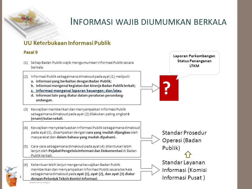 Pasal 9 (1) Setiap Badan Publik wajib mengumumkan Informasi Publik secara berkala. (2) Informasi Publik sebagaimana dimaksud pada ayat (1) meliputi: a