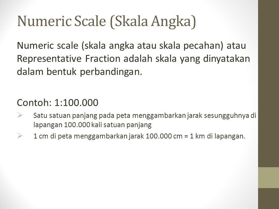 Numeric Scale (Skala Angka) Numeric scale (skala angka atau skala pecahan) atau Representative Fraction adalah skala yang dinyatakan dalam bentuk perb