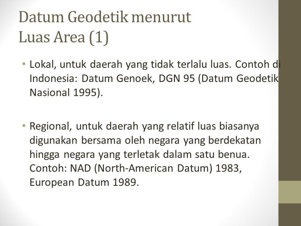 Datum Geodetik menurut Luas Area (1) Lokal, untuk daerah yang tidak terlalu luas. Contoh di Indonesia: Datum Genoek, DGN 95 (Datum Geodetik Nasional 1