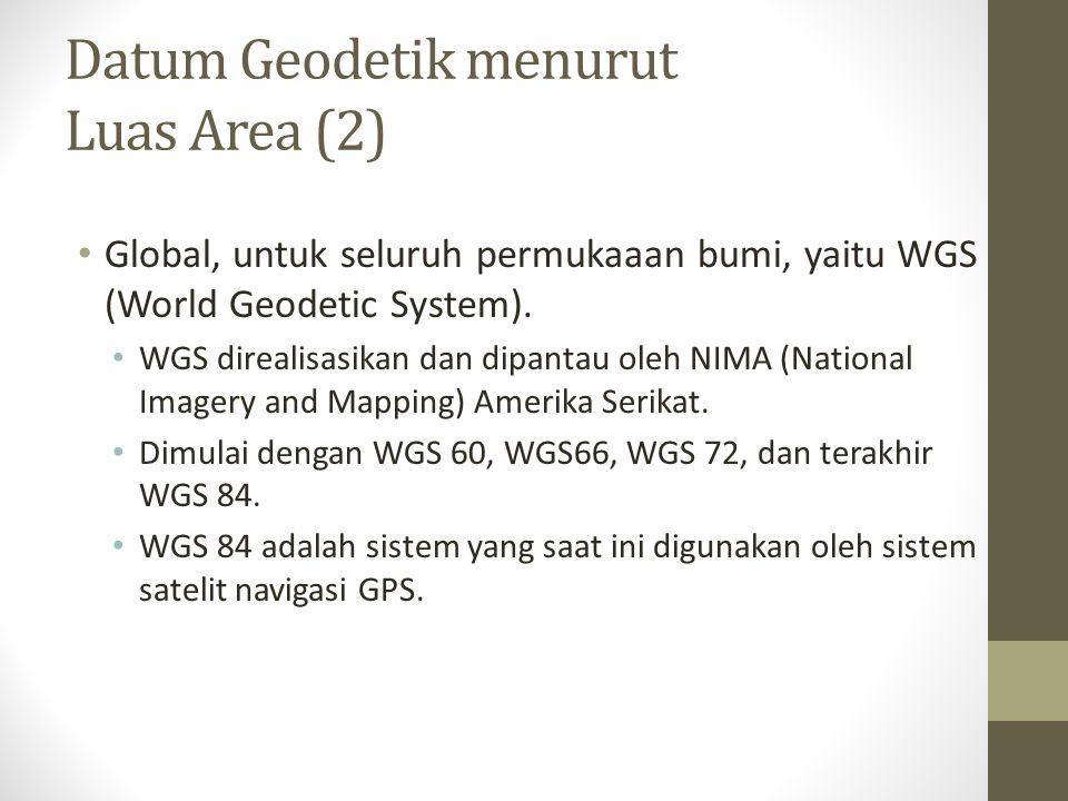 Datum Geodetik menurut Luas Area (2) Global, untuk seluruh permukaaan bumi, yaitu WGS (World Geodetic System). WGS direalisasikan dan dipantau oleh NI