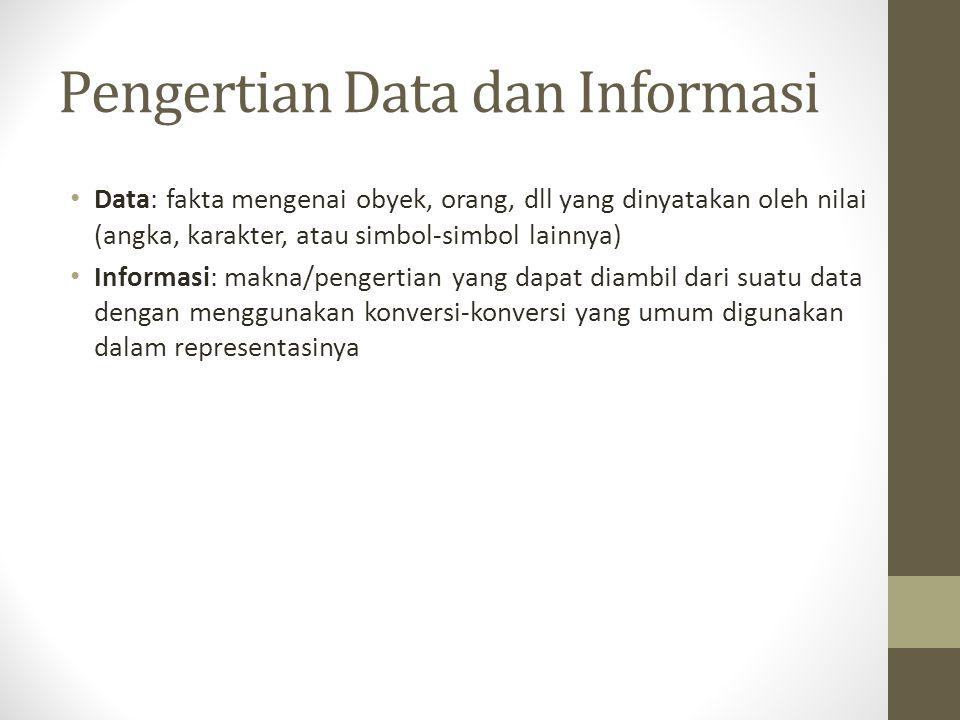 Pengertian Data dan Informasi Data: fakta mengenai obyek, orang, dll yang dinyatakan oleh nilai (angka, karakter, atau simbol-simbol lainnya) Informasi: makna/pengertian yang dapat diambil dari suatu data dengan menggunakan konversi-konversi yang umum digunakan dalam representasinya