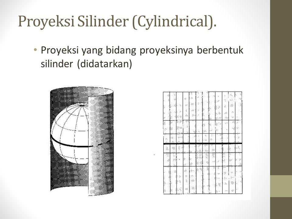 Proyeksi Silinder (Cylindrical). Proyeksi yang bidang proyeksinya berbentuk silinder (didatarkan)