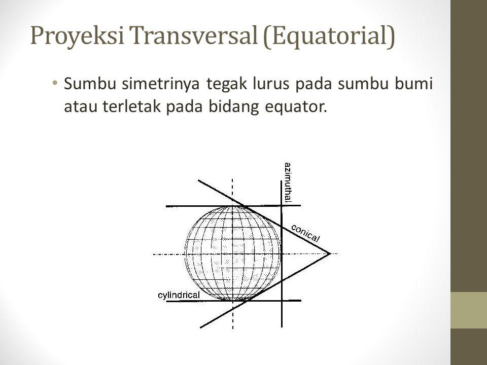 Proyeksi Transversal (Equatorial) Sumbu simetrinya tegak lurus pada sumbu bumi atau terletak pada bidang equator.