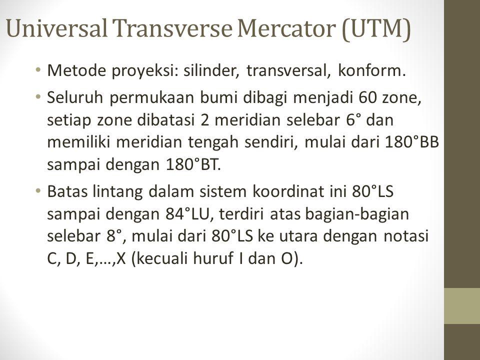 Universal Transverse Mercator (UTM) Metode proyeksi: silinder, transversal, konform. Seluruh permukaan bumi dibagi menjadi 60 zone, setiap zone dibata