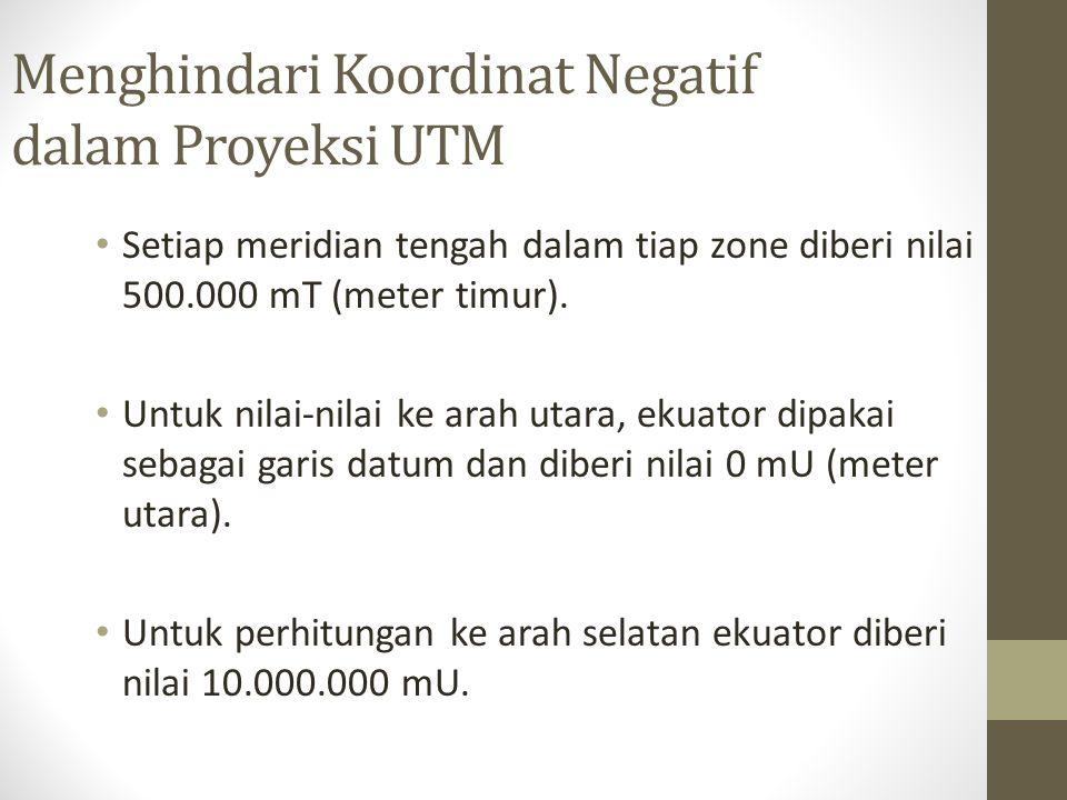 Menghindari Koordinat Negatif dalam Proyeksi UTM Setiap meridian tengah dalam tiap zone diberi nilai 500.000 mT (meter timur).