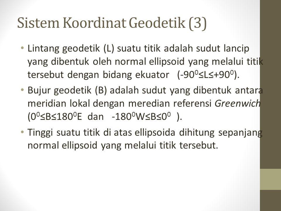 Lintang geodetik (L) suatu titik adalah sudut lancip yang dibentuk oleh normal ellipsoid yang melalui titik tersebut dengan bidang ekuator (-90 0 ≤L≤+