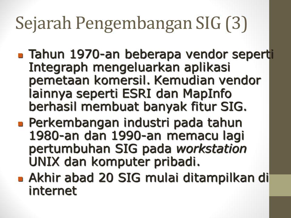Sejarah Pengembangan SIG (3) Tahun 1970-an beberapa vendor seperti Integraph mengeluarkan aplikasi pemetaan komersil. Kemudian vendor lainnya seperti