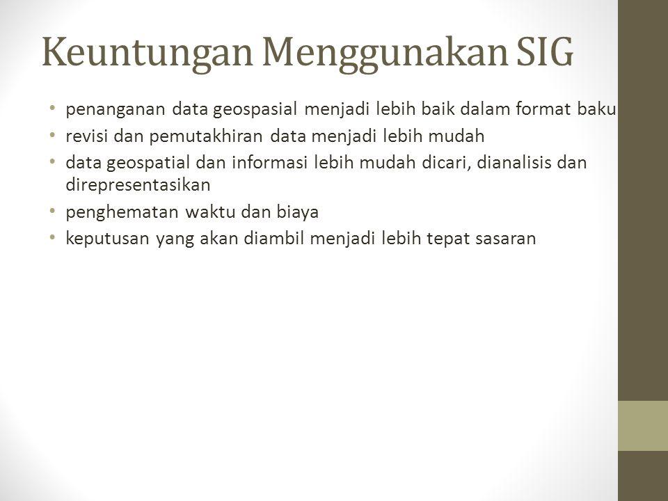 Keuntungan Menggunakan SIG penanganan data geospasial menjadi lebih baik dalam format baku revisi dan pemutakhiran data menjadi lebih mudah data geosp