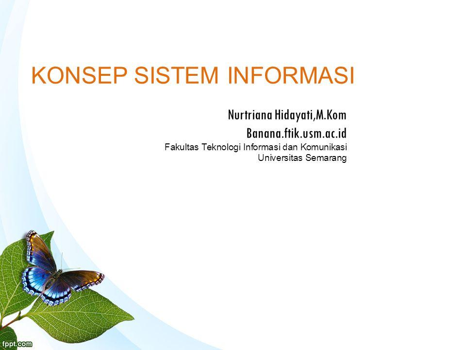 KONSEP SISTEM INFORMASI Nurtriana Hidayati,M.Kom Banana.ftik.usm.ac.id Fakultas Teknologi Informasi dan Komunikasi Universitas Semarang