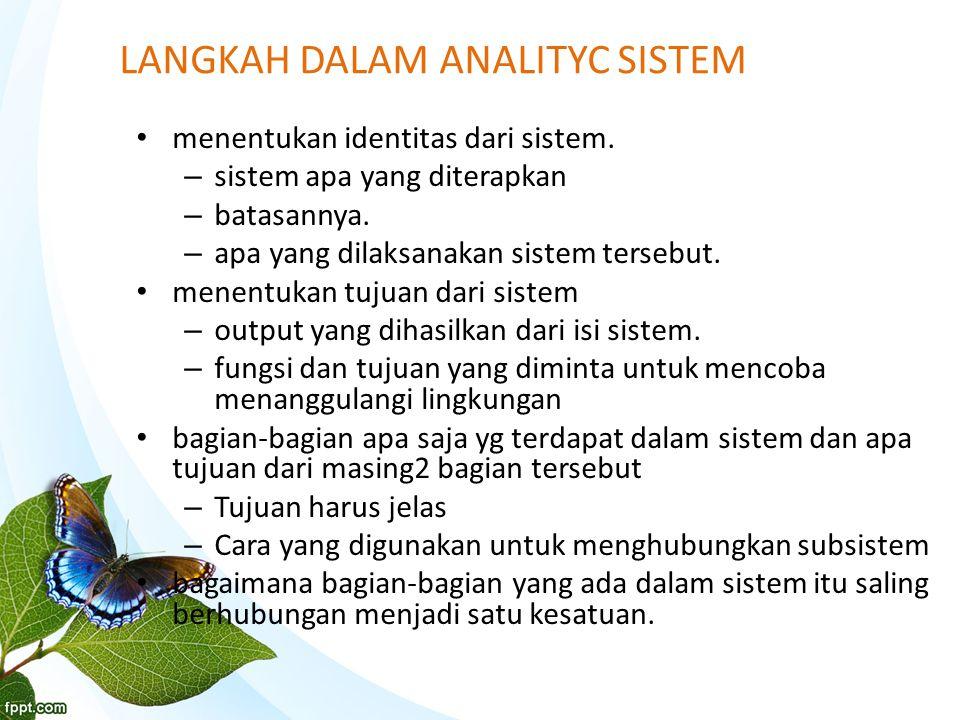 LANGKAH DALAM ANALITYC SISTEM menentukan identitas dari sistem.