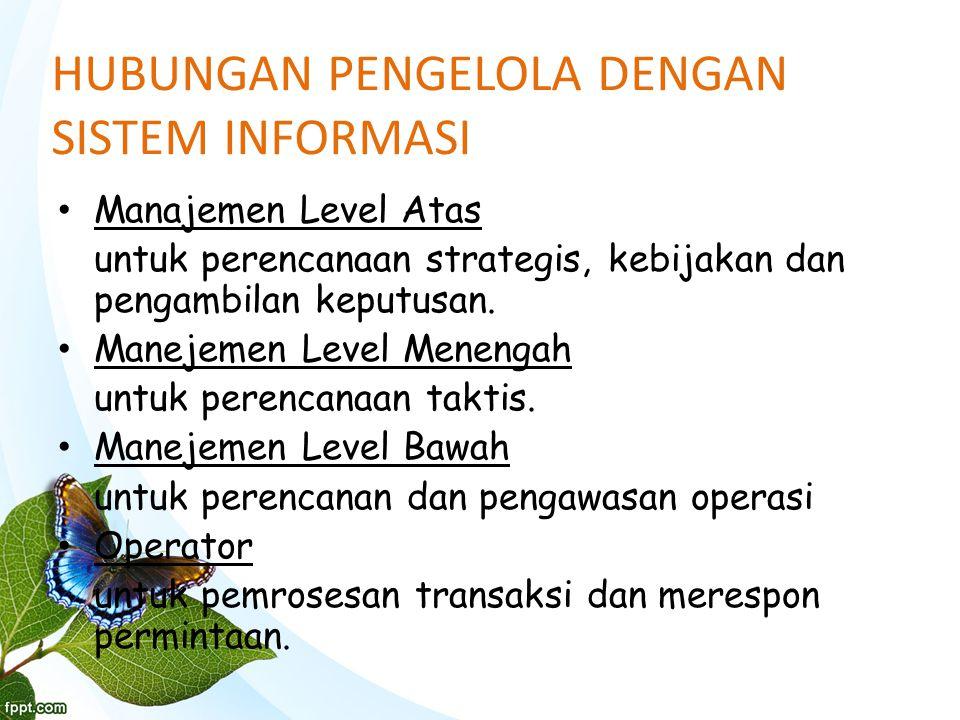 HUBUNGAN PENGELOLA DENGAN SISTEM INFORMASI Manajemen Level Atas untuk perencanaan strategis, kebijakan dan pengambilan keputusan.