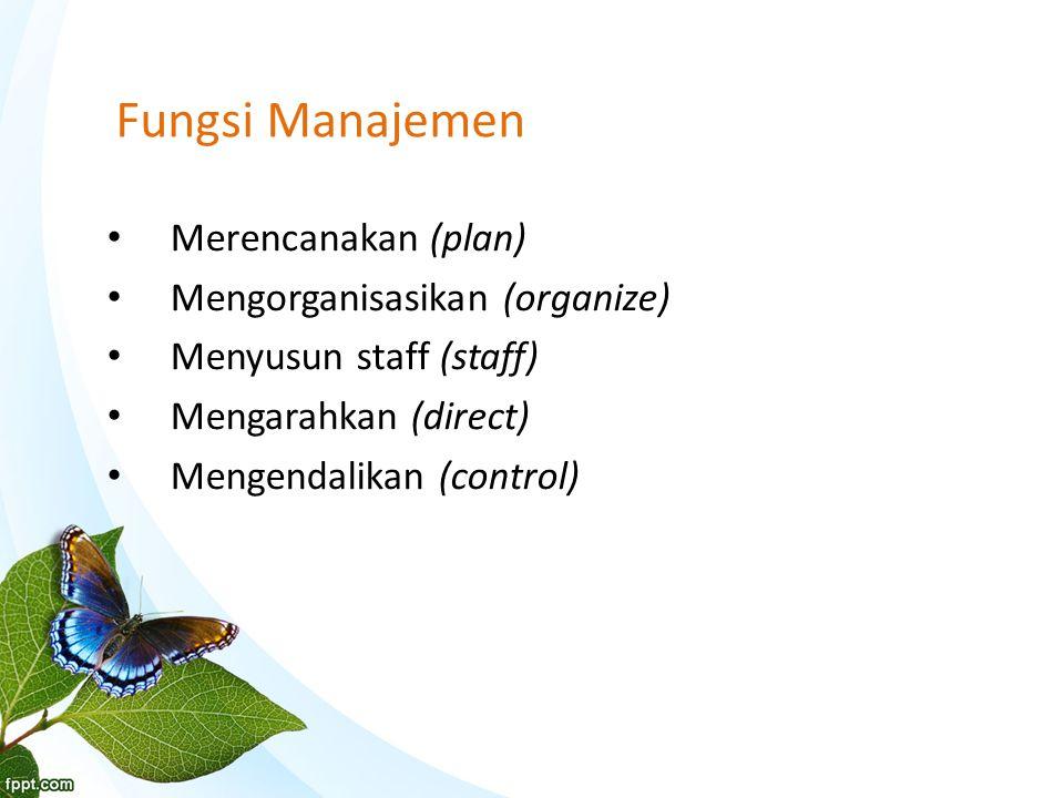 Fungsi Manajemen Merencanakan (plan) Mengorganisasikan (organize) Menyusun staff (staff) Mengarahkan (direct) Mengendalikan (control)