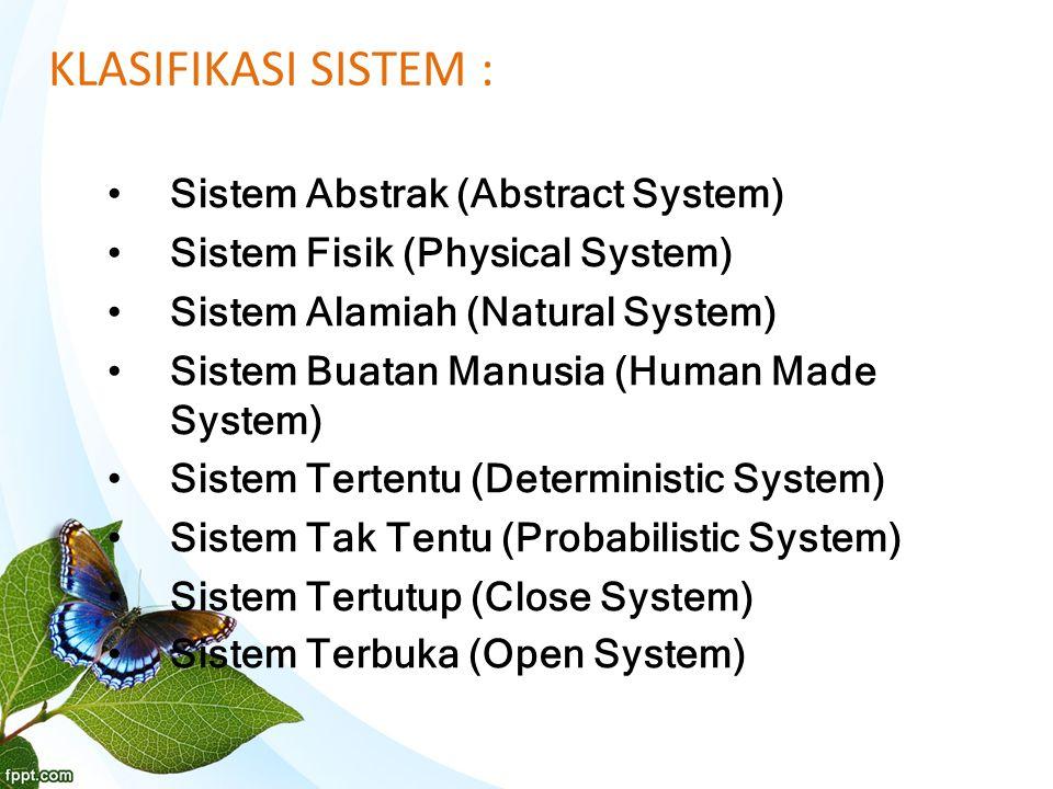 KLASIFIKASI SISTEM : Sistem Abstrak (Abstract System) Sistem Fisik (Physical System) Sistem Alamiah (Natural System) Sistem Buatan Manusia (Human Made System) Sistem Tertentu (Deterministic System) Sistem Tak Tentu (Probabilistic System) Sistem Tertutup (Close System) Sistem Terbuka (Open System)