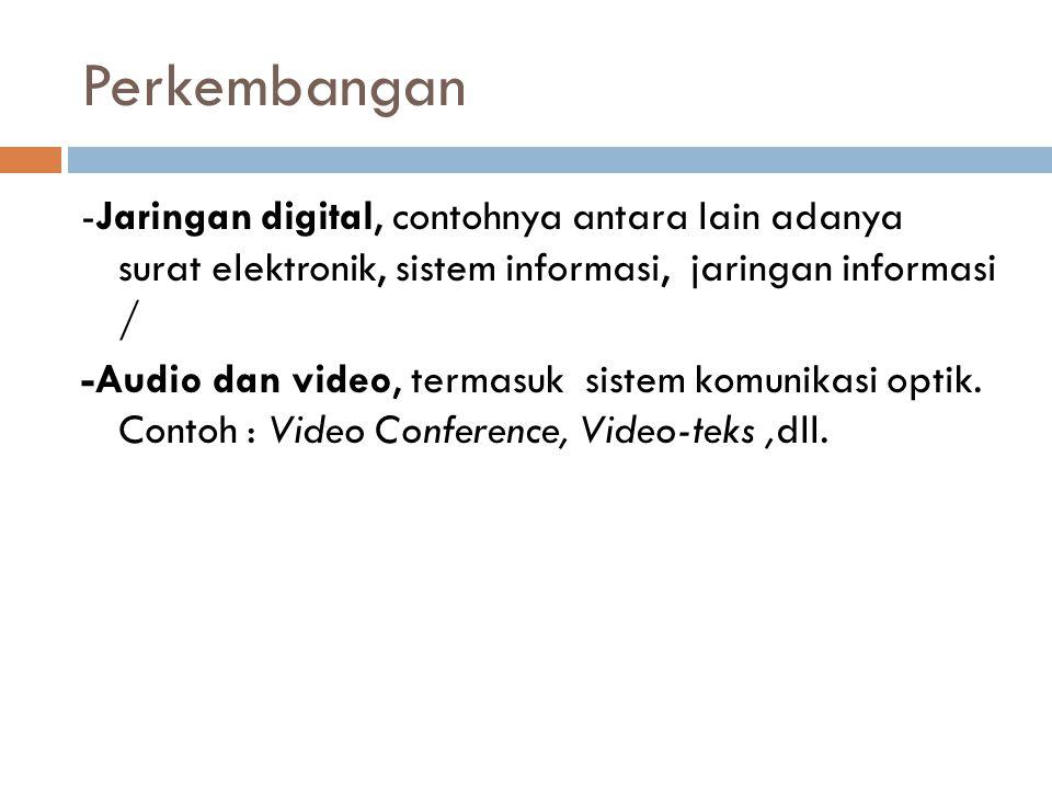 Perkembangan -Jaringan digital, contohnya antara lain adanya surat elektronik, sistem informasi, jaringan informasi / -Audio dan video, termasuk siste
