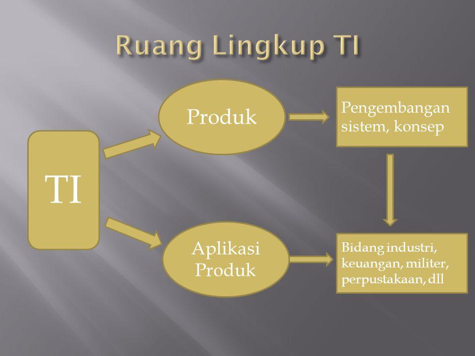 TI Produk Aplikasi Produk Pengembangan sistem, konsep Bidang industri, keuangan, militer, perpustakaan, dll