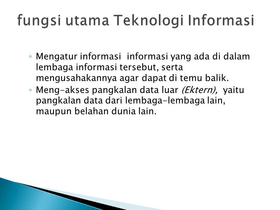 ◦ Mengatur informasi informasi yang ada di dalam lembaga informasi tersebut, serta mengusahakannya agar dapat di temu balik. ◦ Meng-akses pangkalan da