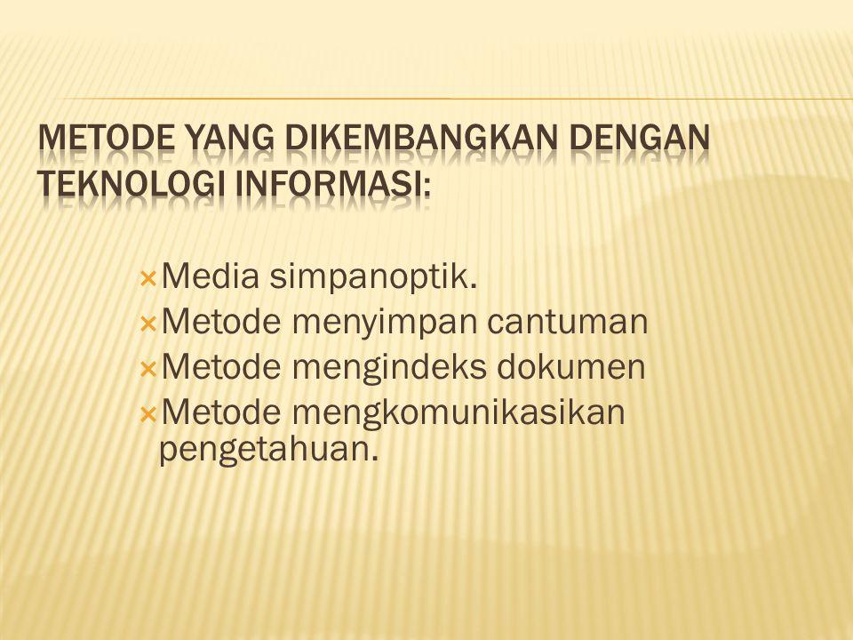  Media simpanoptik.  Metode menyimpan cantuman  Metode mengindeks dokumen  Metode mengkomunikasikan pengetahuan.