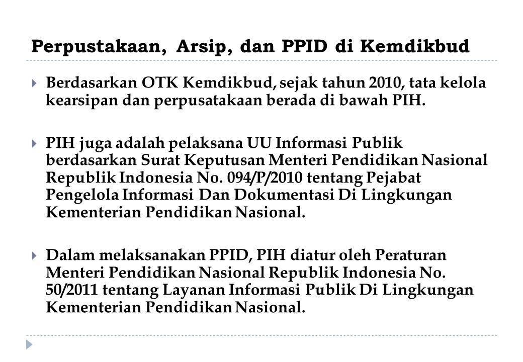 Perpustakaan, Arsip, dan PPID di Kemdikbud  Berdasarkan OTK Kemdikbud, sejak tahun 2010, tata kelola kearsipan dan perpusatakaan berada di bawah PIH.