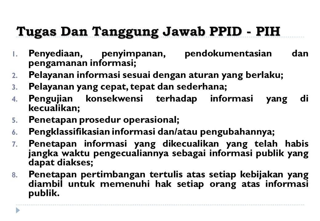 Tugas Dan Tanggung Jawab PPID - PIH 1. Penyediaan, penyimpanan, pendokumentasian dan pengamanan informasi; 2. Pelayanan informasi sesuai dengan aturan