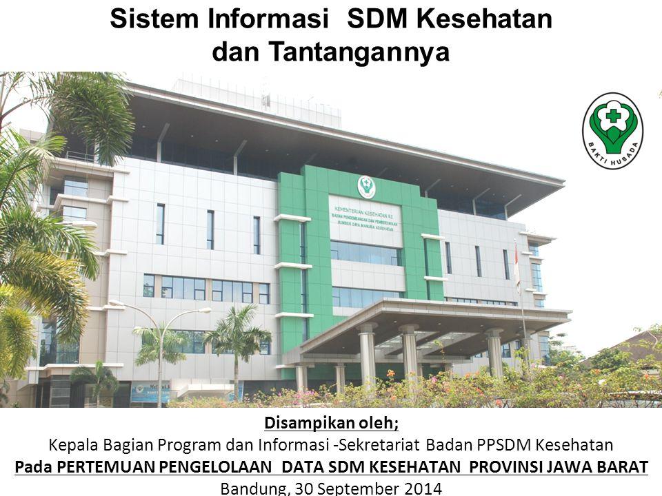 Disampikan oleh; Kepala Bagian Program dan Informasi -Sekretariat Badan PPSDM Kesehatan Pada PERTEMUAN PENGELOLAAN DATA SDM KESEHATAN PROVINSI JAWA BA