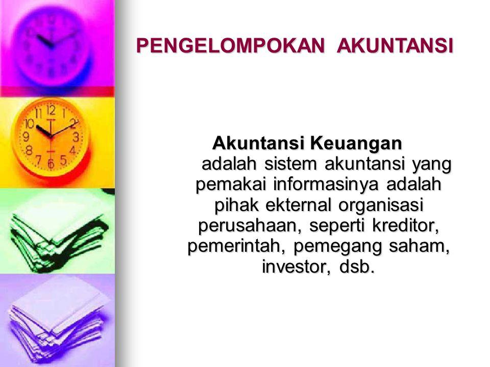 Akuntansi Keuangan adalah sistem akuntansi yang pemakai informasinya adalah pihak ekternal organisasi perusahaan, seperti kreditor, pemerintah, pemega