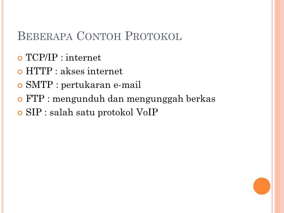 B EBERAPA C ONTOH P ROTOKOL TCP/IP : internet HTTP : akses internet SMTP : pertukaran e-mail FTP : mengunduh dan mengunggah berkas SIP : salah satu protokol VoIP