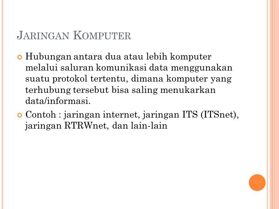 J ARINGAN K OMPUTER Hubungan antara dua atau lebih komputer melalui saluran komunikasi data menggunakan suatu protokol tertentu, dimana komputer yang terhubung tersebut bisa saling menukarkan data/informasi.