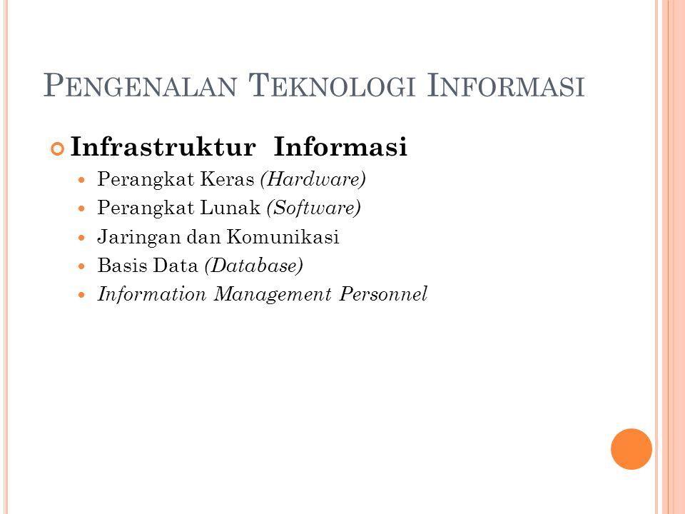 P ENGENALAN T EKNOLOGI I NFORMASI Infrastruktur Informasi Perangkat Keras (Hardware) Perangkat Lunak (Software) Jaringan dan Komunikasi Basis Data (Database) Information Management Personnel