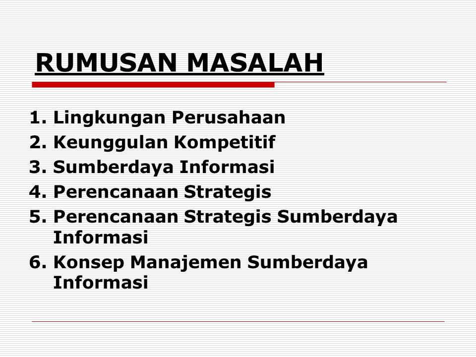 RUMUSAN MASALAH 1. Lingkungan Perusahaan 2. Keunggulan Kompetitif 3. Sumberdaya Informasi 4. Perencanaan Strategis 5. Perencanaan Strategis Sumberdaya