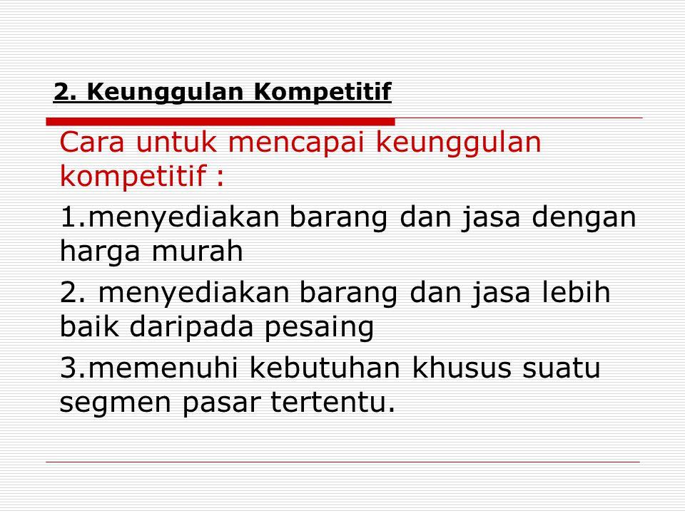 2. Keunggulan Kompetitif Cara untuk mencapai keunggulan kompetitif : 1.menyediakan barang dan jasa dengan harga murah 2. menyediakan barang dan jasa l