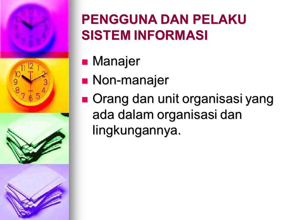 PENGGUNA DAN PELAKU SISTEM INFORMASI Manajer Manajer Non-manajer Non-manajer Orang dan unit organisasi yang ada dalam organisasi dan lingkungannya. Or