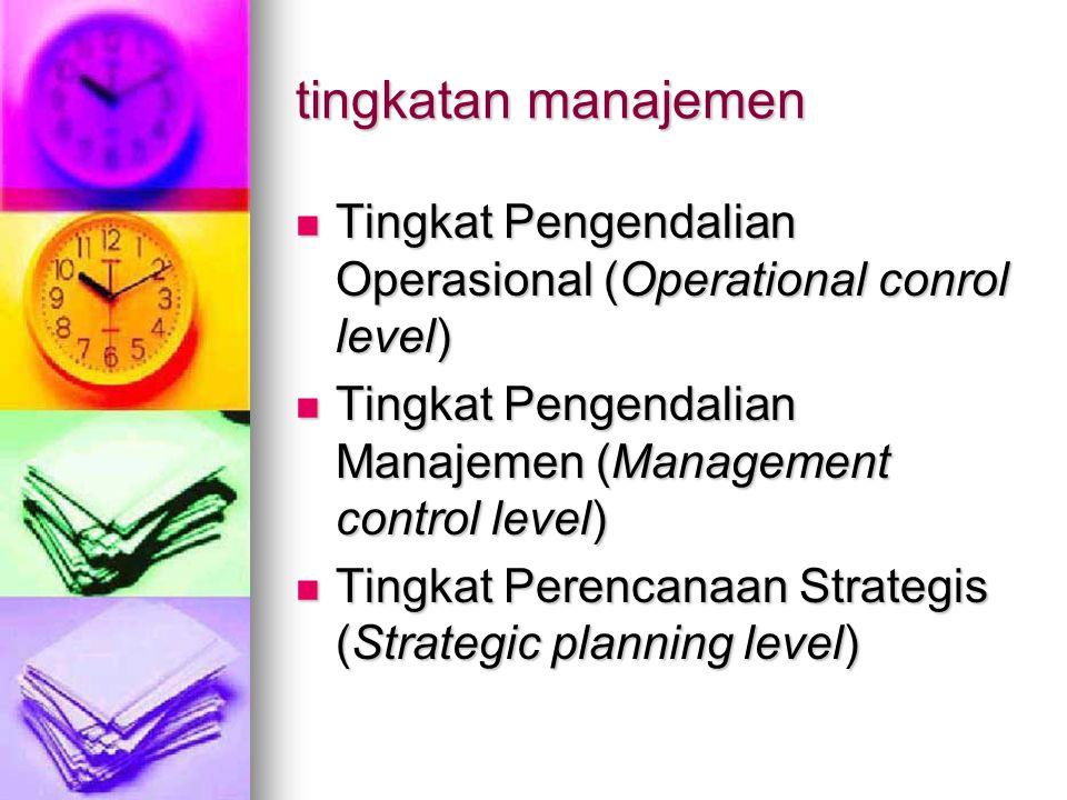 tingkatan manajemen Tingkat Pengendalian Operasional (Operational conrol level) Tingkat Pengendalian Operasional (Operational conrol level) Tingkat Pengendalian Manajemen (Management control level) Tingkat Pengendalian Manajemen (Management control level) Tingkat Perencanaan Strategis (Strategic planning level) Tingkat Perencanaan Strategis (Strategic planning level)