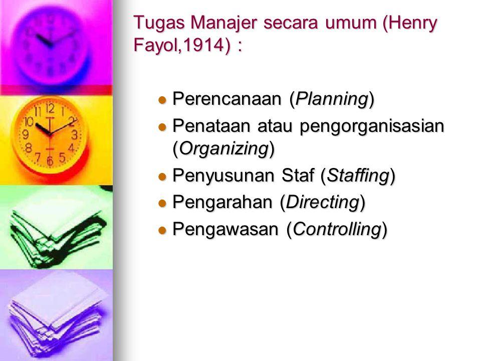 Tugas Manajer secara umum (Henry Fayol,1914) : Perencanaan (Planning) Perencanaan (Planning) Penataan atau pengorganisasian (Organizing) Penataan atau