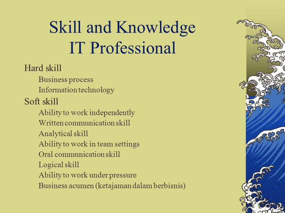 Skill and Knowledge IT Professional Hard skill Business process Information technology Soft skill Ability to work independently Written communication