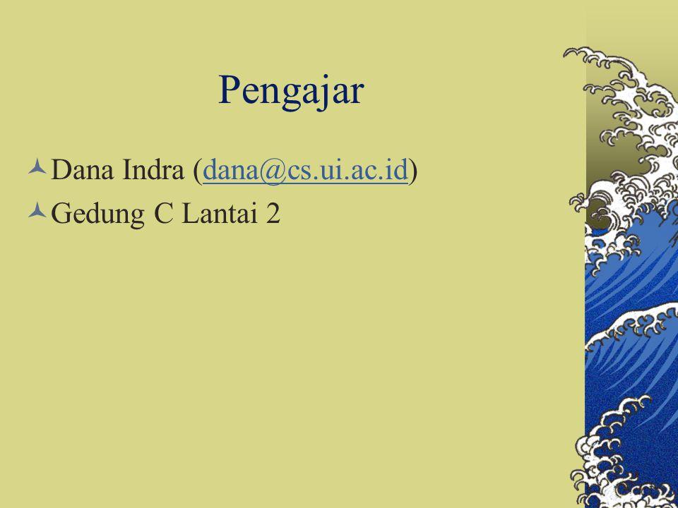 Pengajar Dana Indra (dana@cs.ui.ac.id)dana@cs.ui.ac.id Gedung C Lantai 2