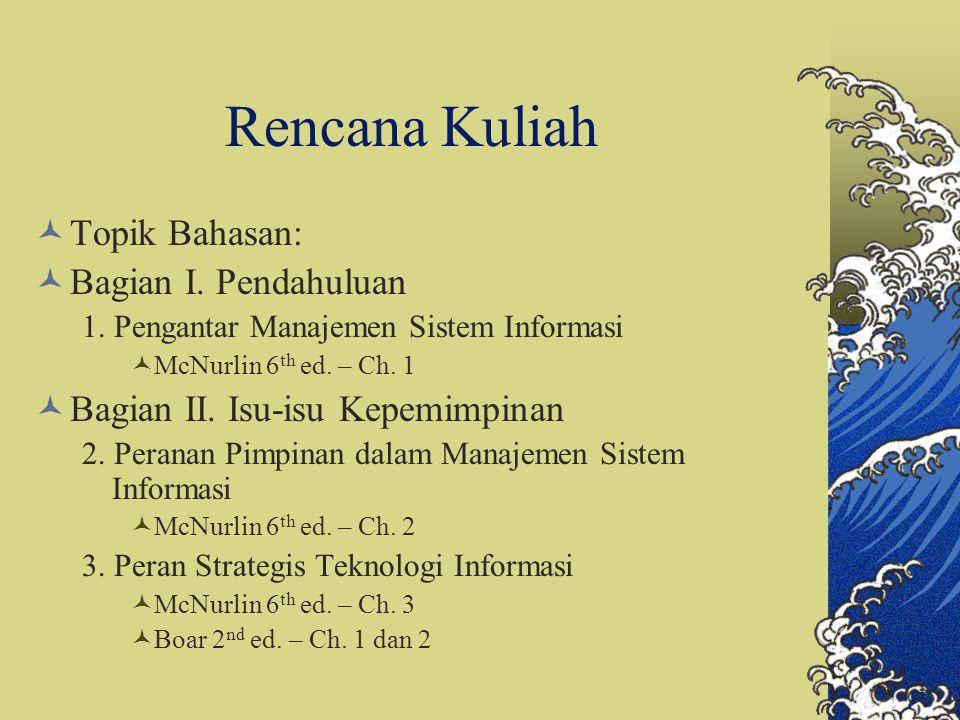 Rencana Kuliah Topik Bahasan: Bagian I. Pendahuluan 1. Pengantar Manajemen Sistem Informasi McNurlin 6 th ed. – Ch. 1 Bagian II. Isu-isu Kepemimpinan