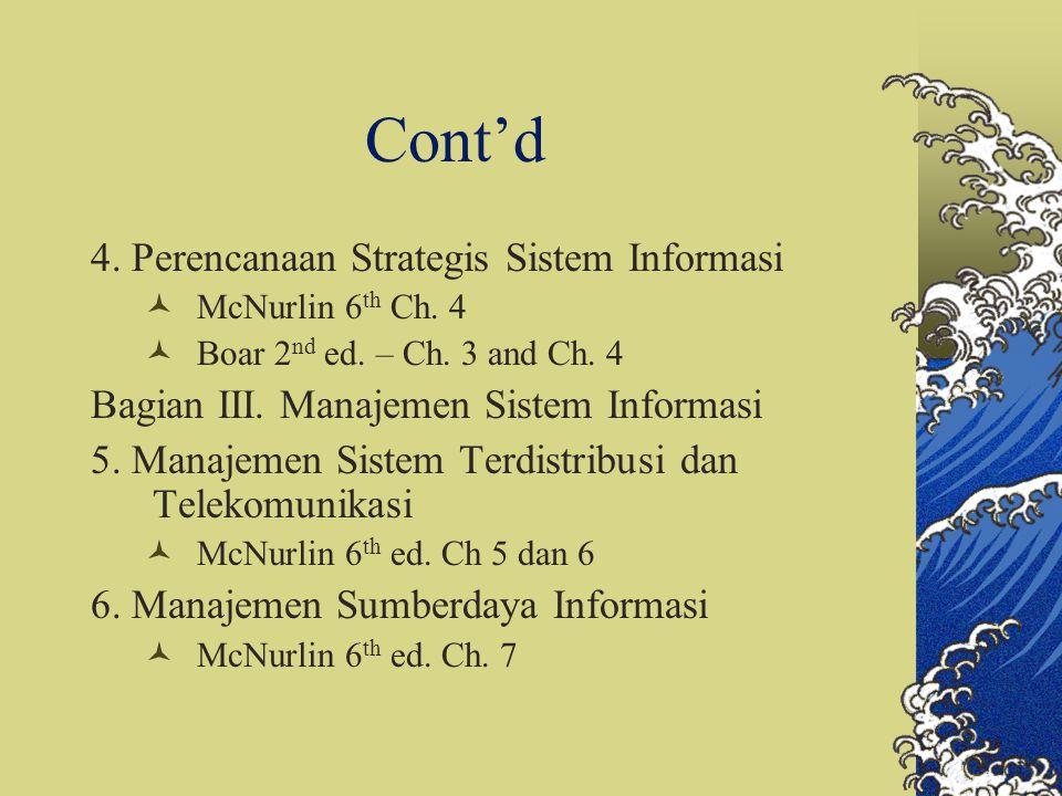 Cont'd 4. Perencanaan Strategis Sistem Informasi McNurlin 6 th Ch. 4 Boar 2 nd ed. – Ch. 3 and Ch. 4 Bagian III. Manajemen Sistem Informasi 5. Manajem