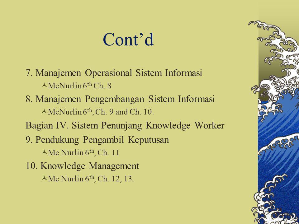 Cont'd 7. Manajemen Operasional Sistem Informasi McNurlin 6 th Ch. 8 8. Manajemen Pengembangan Sistem Informasi McNurlin 6 th, Ch. 9 and Ch. 10. Bagia
