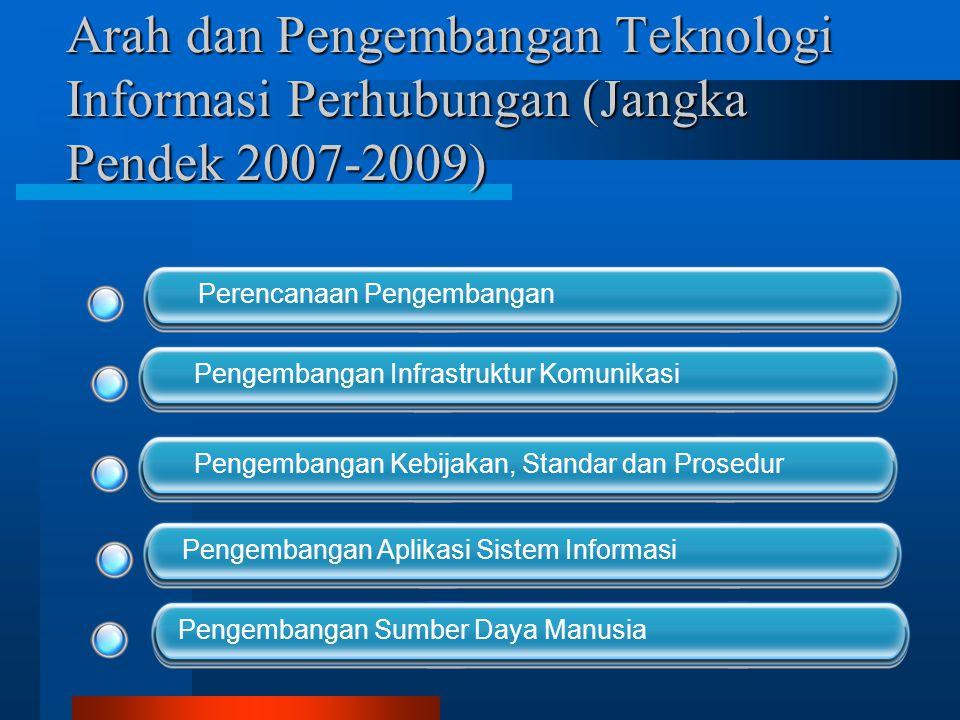 Arah dan Pengembangan Teknologi Informasi Perhubungan (Jangka Menengah, 2010-2011) Evaluasi Integrasi Sistem Informasi dan Data Warehouse Pengembangan Sumber Daya Manusia