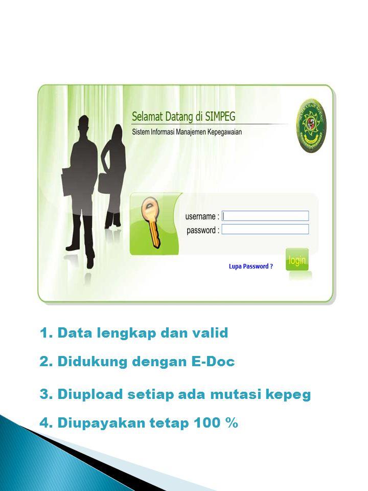 1. Data lengkap dan valid 2. Didukung dengan E-Doc 3.