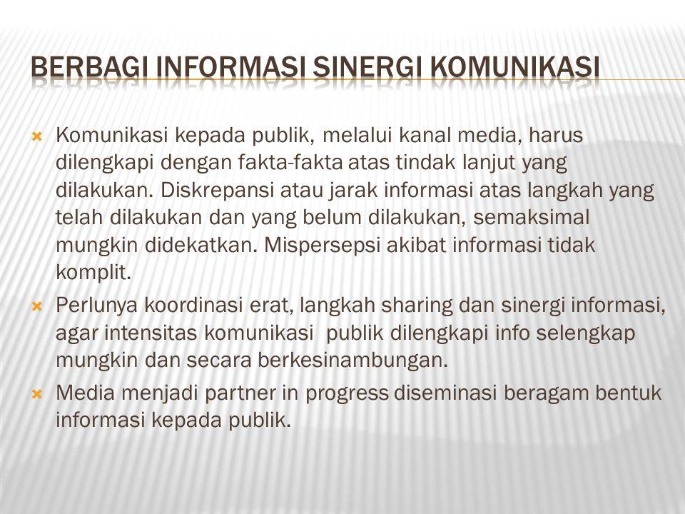  Komunikasi kepada publik, melalui kanal media, harus dilengkapi dengan fakta-fakta atas tindak lanjut yang dilakukan. Diskrepansi atau jarak informa