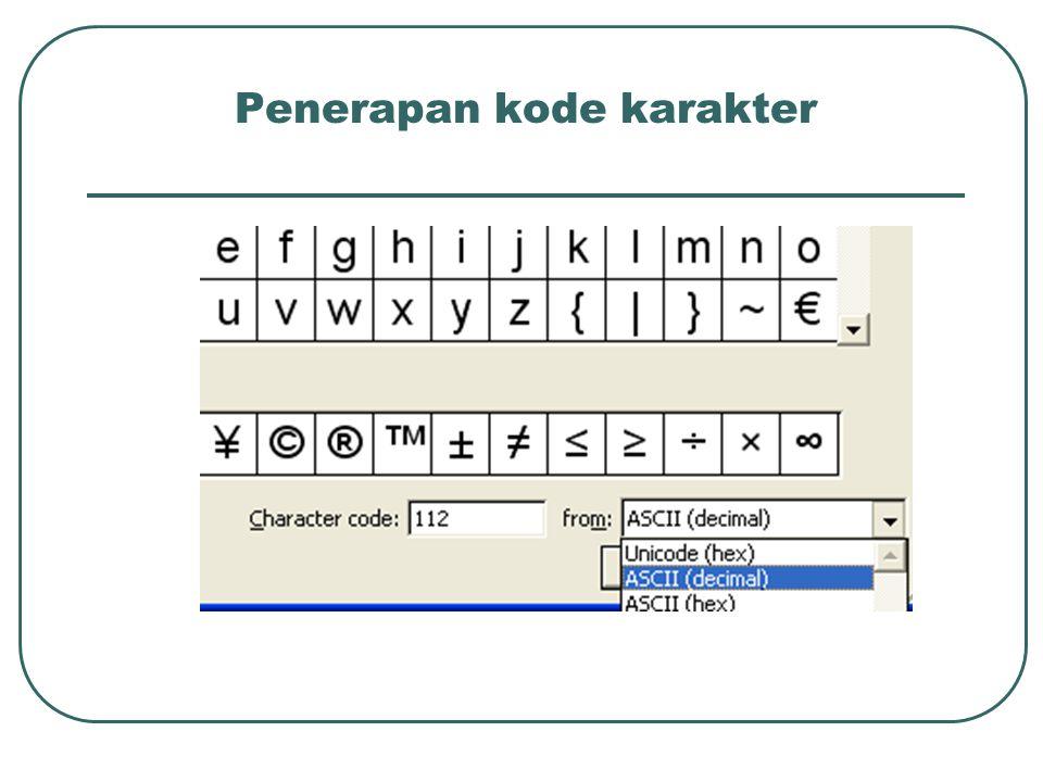 Penerapan kode karakter